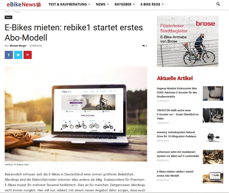 E-Bikes mieten: rebike1 startet erstes Abo-Modell